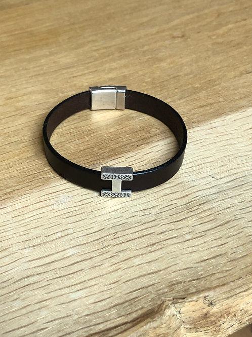 Bracelet cuir H marron foncé