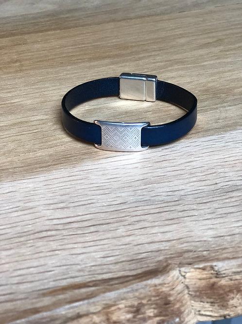 Bracelet cuir de veau éthnique bleu