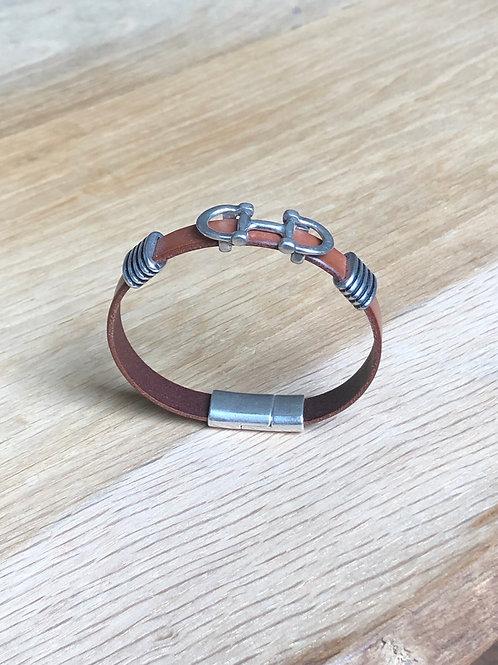 Bracelet morse cuir de veau camel