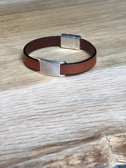 Bracelet cuir de veau éthnique marron