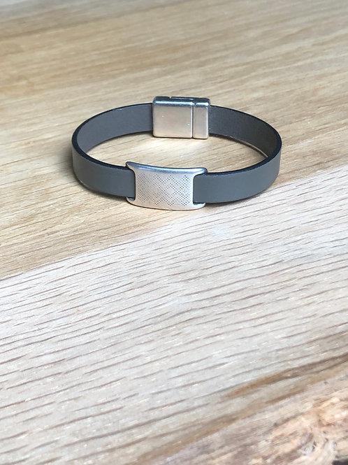 Bracelet cuir de veau éthnique kaki