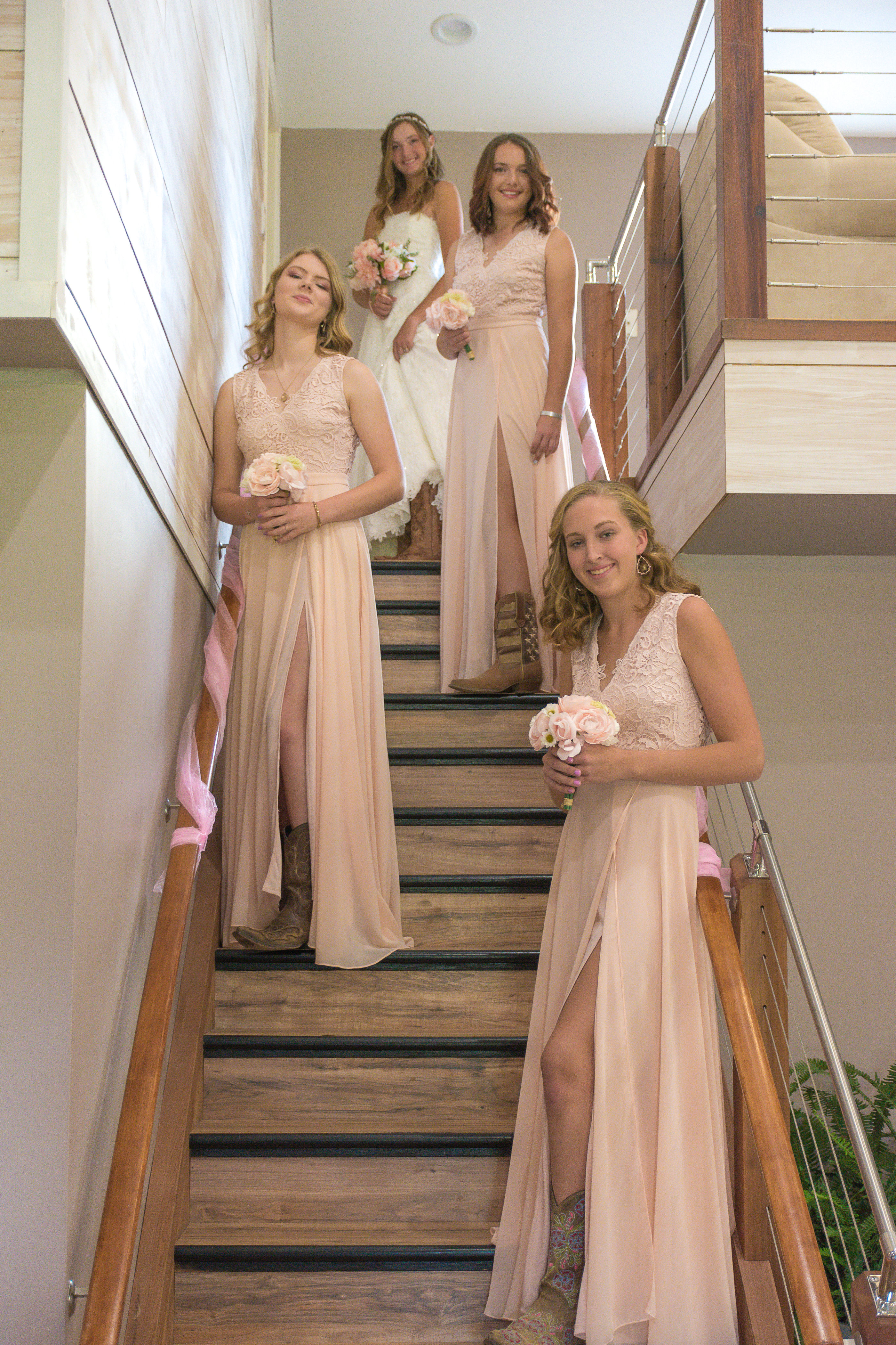 Maids on staircase