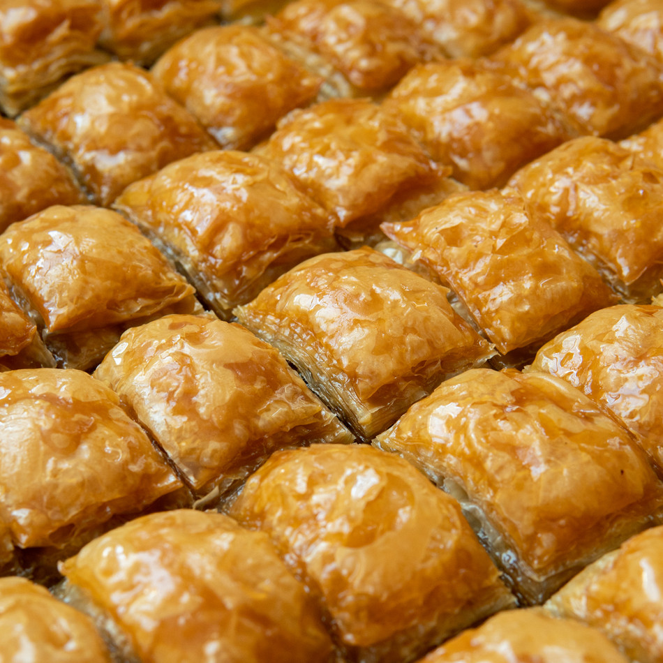 Turkish style baklava with walnut, close