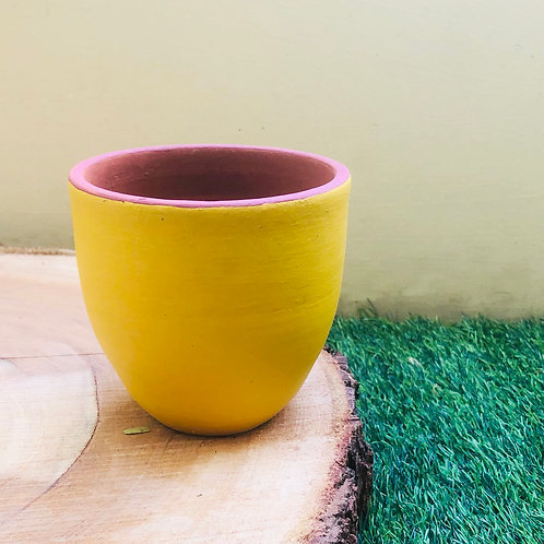 "Terracotta Yellow Jazz Planter- 4.5"""