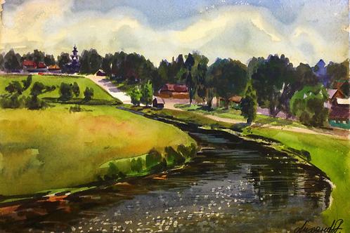 """Картина """"река в Суздале"""""""