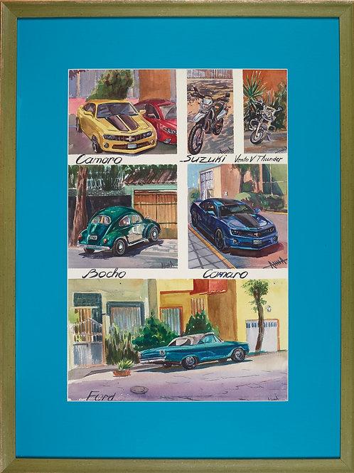 """Картина """"Машины на улицах Мехико"""""""