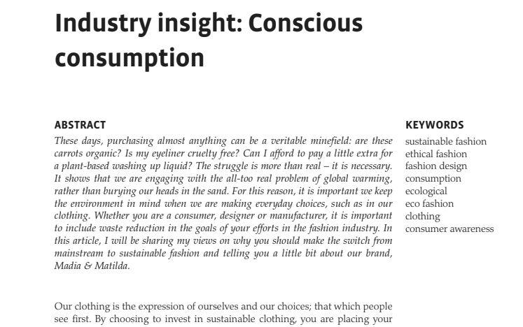 Conscious Consumption - Madia & Mati