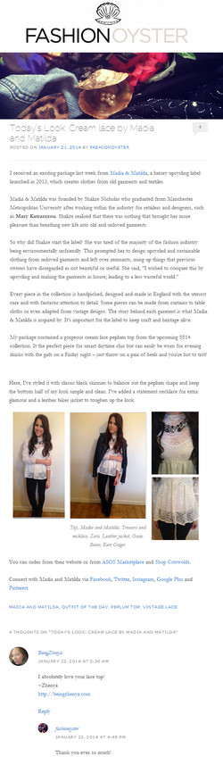Fashion Oysters (Georgia Hathaway) Feature on Madia & Matilda - Lace Blouse - Di