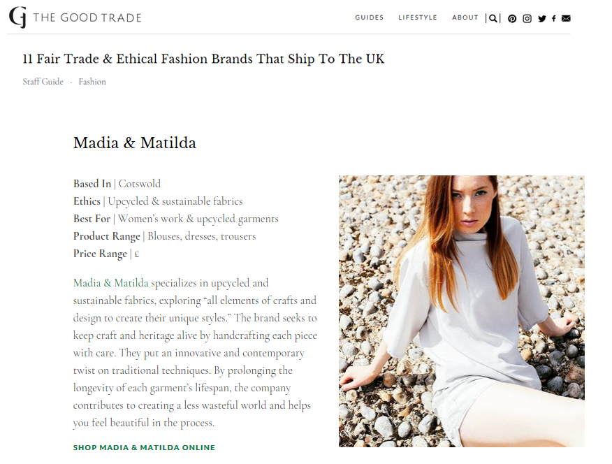 The Good Trade, Sustainable Fashion