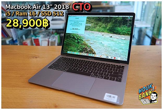 """Macbook Air 13"""" 2018 CTO  มือสองสภาพดี"""