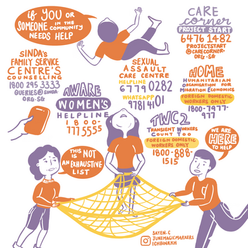 Help is out there for Domestic Violence | Domestic Abuse Helplines Singapore | Infographic | Visual Summary | Illustration | Artese Studios