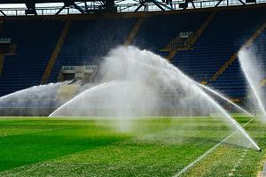 Irrigation turf. Sprinkler watering foot