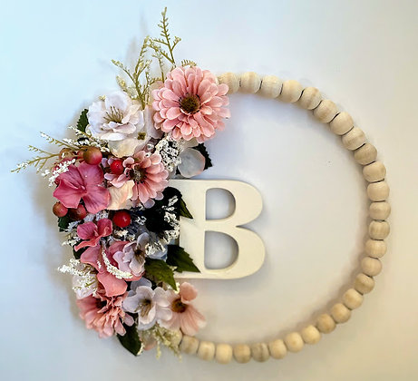 Beaded Wreath - With Letter