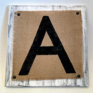 12x12 Burlap Monogram