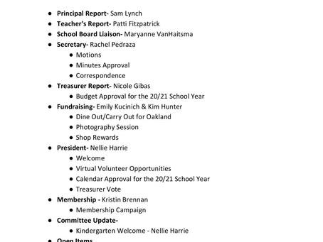 Agenda for PTA Zoom Meeting
