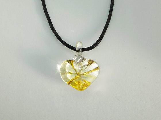 "Pendentif en verre ""Coeur-soleil, jaune strié"""