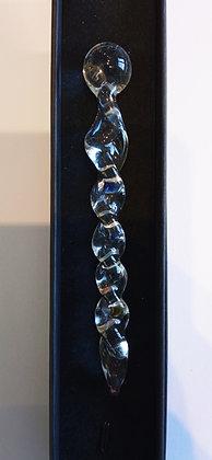 Baguette énergétique torçadée en verre transparent