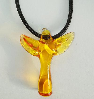 """Pendentif en verre jaune """"Ange ailes striées"""