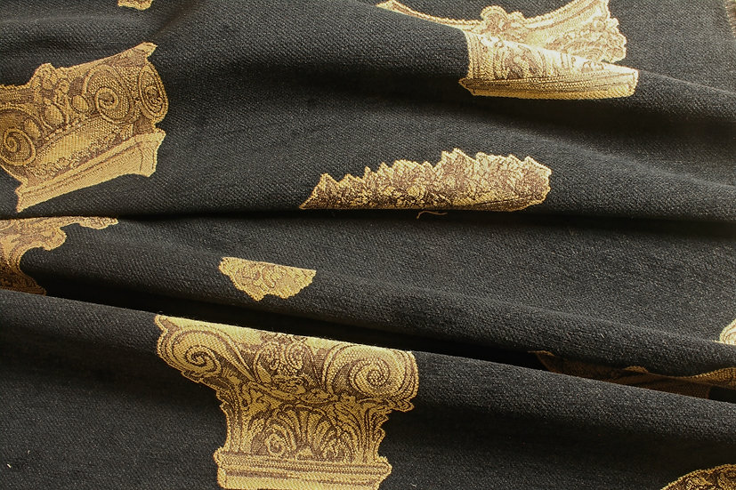 Black Velvety Upholstery with Golden Cherubs & Ancient Architecture