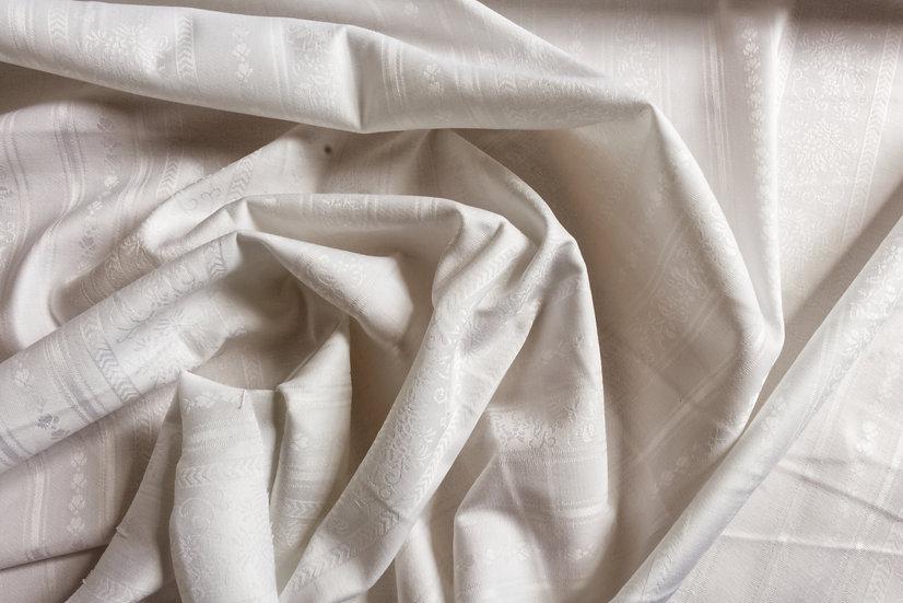 White Jacquard Floral Stripe