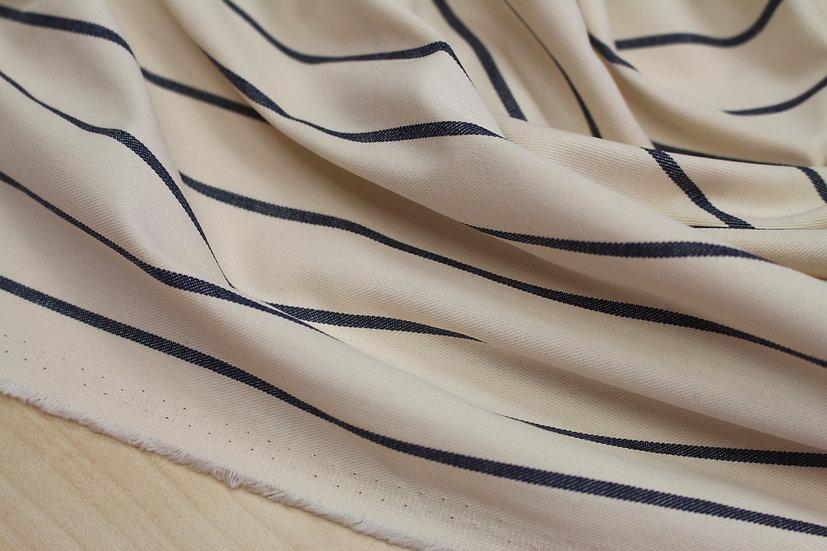 Cream Blue Woven Stripe