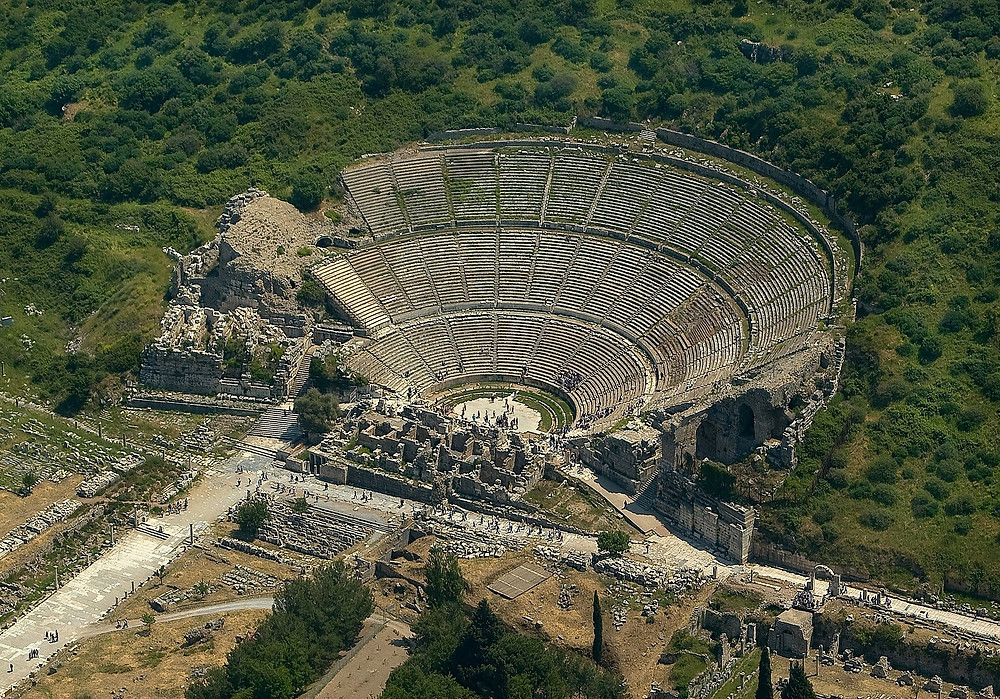One of the most magnificent structures in Ephesus today. The Ephesus Great Theatre is located on the slope of Panayir Hill, and can easily be seen when entering from the south entrance to Ephesus.