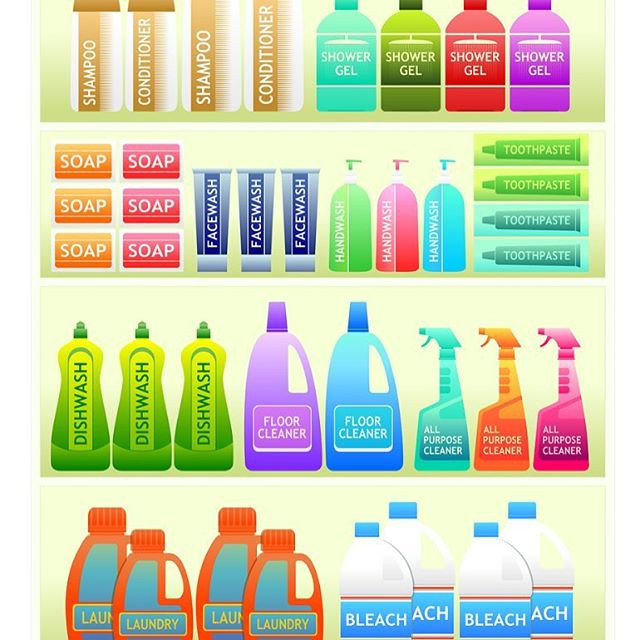 fabric softener, laundry detergent, soap, shampoo, household cleaner, window cleaner, dishwashing soap