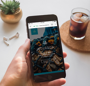 Website of Hovarda which runs on a smartphone