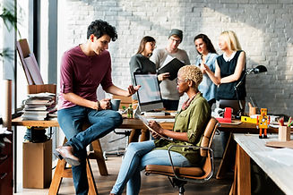 People discussing in an office