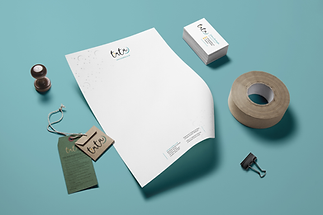 A letterhead, business cards and hangtags designed for Tuta Kids