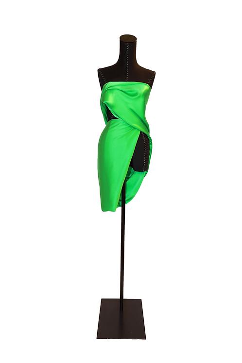 Green Silk Short Dress