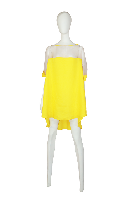 Yellow Blouse with See Trough Shoulders