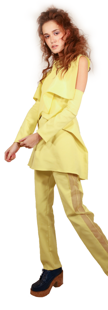 Structured Yellow Pant Set