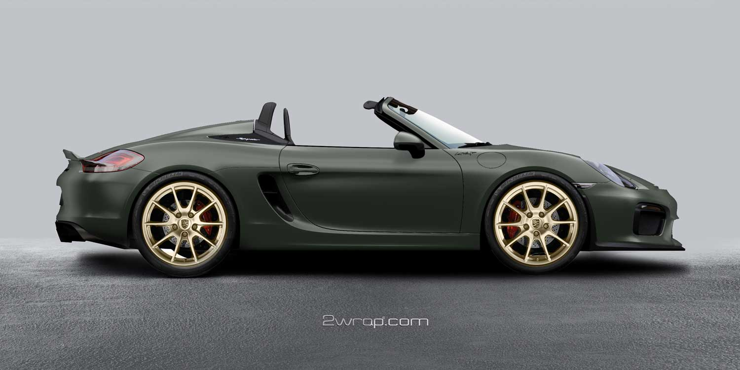 Matte-military-green-carwrap-gold-wheel