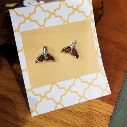 Koa whale tail post earring