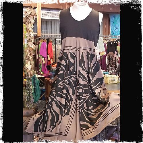 Tan & Black Lycra Panel  Dress , D80