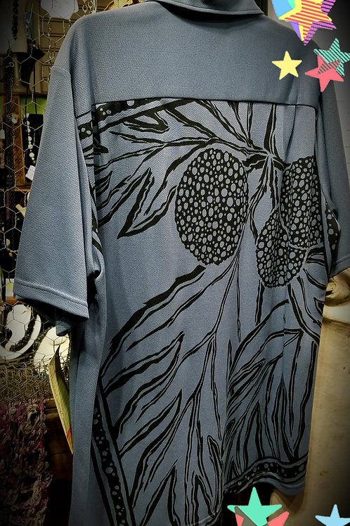 Blue Grey Aloha Shirt