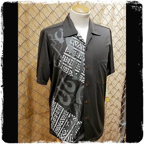 Dark Grey Bamboo Knit Aloha Shirt