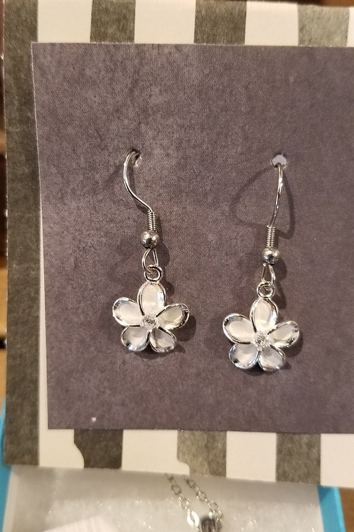 rhodium plated plumeria earring
