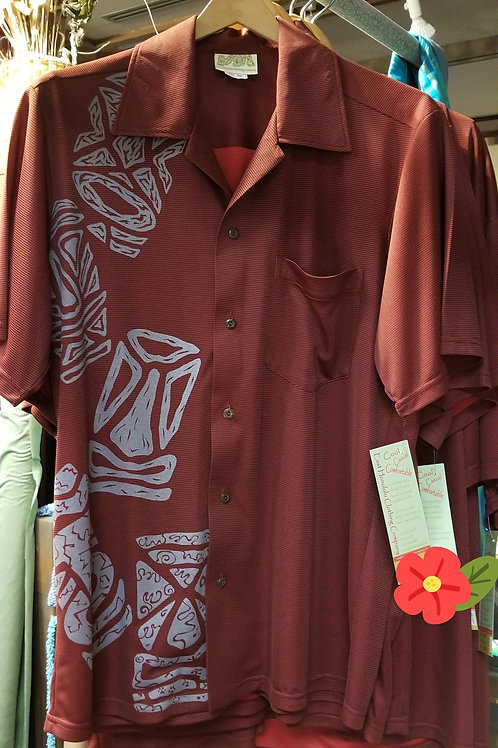 Dark Red Bamboo Aloha Shirt