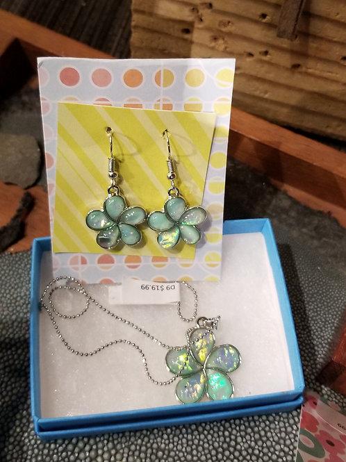 Glass Plumeria earrings or pendant