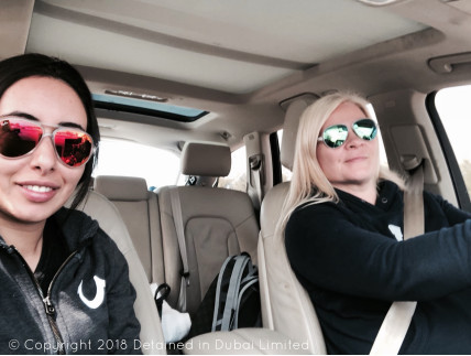 Sheikha Latifa and Tiina, driving to freedom, before being captured by UAE forces