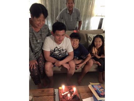 Birthday. Richard with his parents and adoring nephew Seth and niece Summer in Kuala Lumpur before his UAE jail hell began.