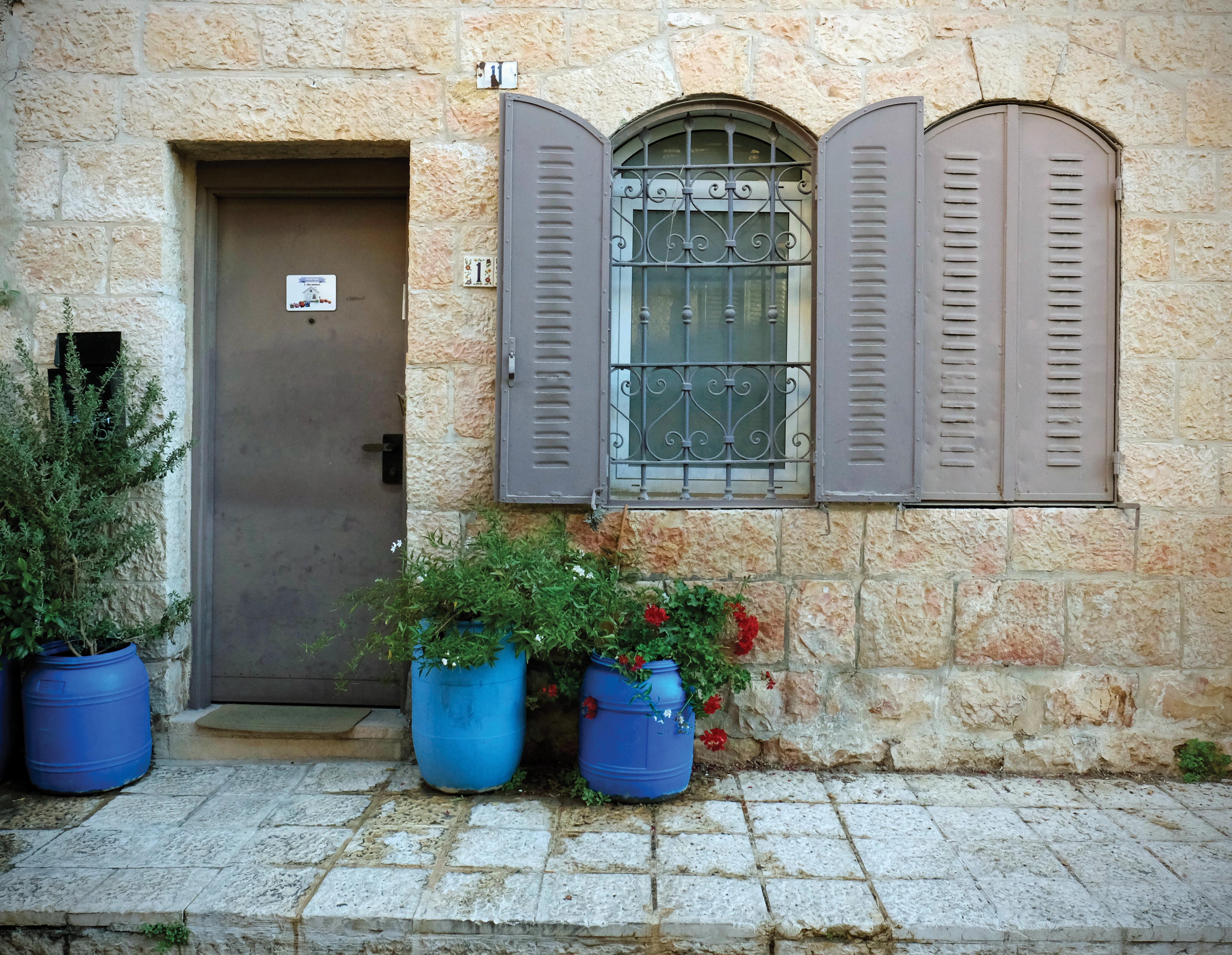 Blue Pots By Door