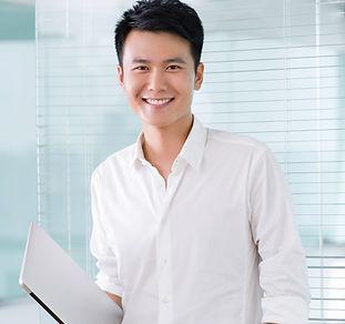 Sorrindo, jovem, homem negócios