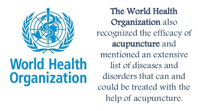 WHO has recognized the effectiveness of Acupuncture