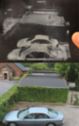 A comparison with a digital image (the car drove away after development)