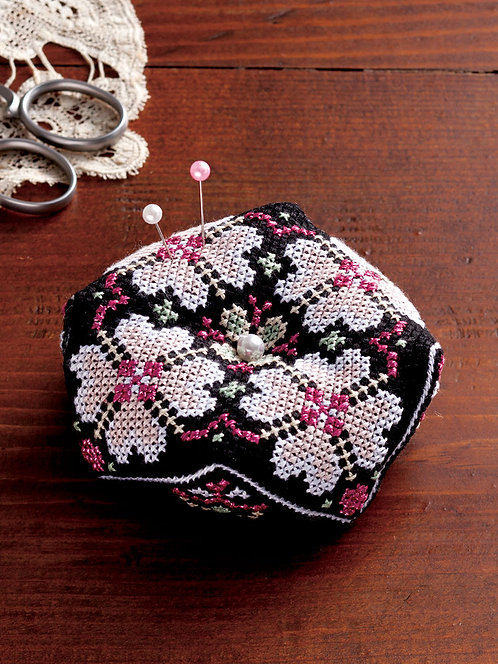 LECIEN 7781 Octagonal Pincushion: Black & Pink