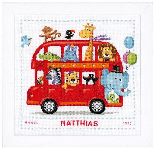Vervaco PN-0147691 Counted Cross Stitch Kit Safari bus aida