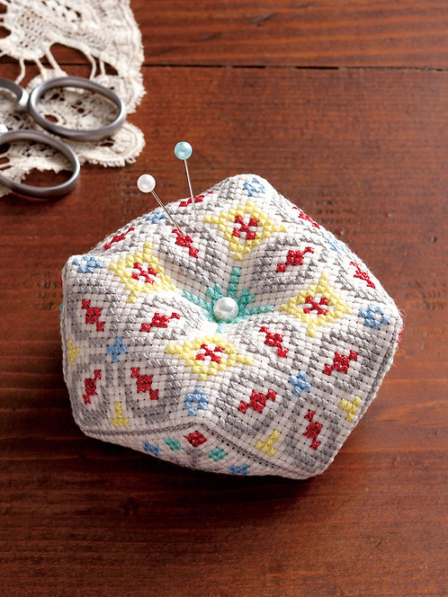 LECIEN 7784 Octagonal Pincushion: Ivory & Gray